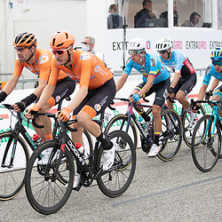 27-09-2020: wielrennen: WK weg mannen: Imola<br /> Dylan van Baarle en Tom Dumoulin27-09-2020: wielrennen: WK weg mannen: Imola<br /> Julian Alaphillipe world champion road in Imola Italy. 2nd Wout van Aert (Belgium) and 3th Mark Hirschi (Switserland)