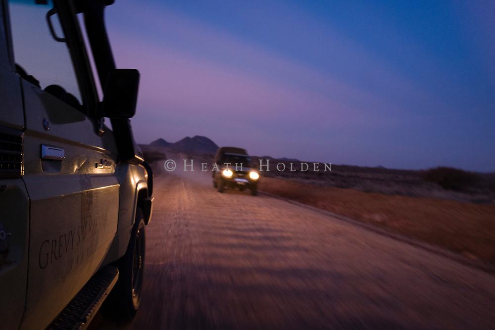 Travelling during dusk in Northern Kenya's Samburu region.