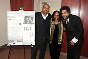"""April 18, 2012- New York, NY : (L-R) Tavis Smiley, TV and radio broadcaster,  Dr. Brenda Greene, professor of English & Executive Director, Center for Black Literature, Medgar Evers College, CUNY and Dr. Cornel West, professor of religion and African-American studies at Princeton University attend the Tavis Smiley and Cornel West Talk and Booksigning of their co-authored new book ' The Rich & the Rest of Us: A Poverty Manifesto ' presented by Dr. Brenda Greene and the National Black Writers Conference held at the Slyvia and Danny Kaye Playhouse at Hunter College (CUNY) on April 20, 2012 in New York City. ..The latest census data shows nearly one in two Americans, or 150 million people, have fallen into poverty  or could be classified as low income. Dr. Cornel West and Tavis Smiley, who continue their efforts to spark a national dialog on the poverty crisis with the new book, """"The Rich and the Rest of Us: A Poverty Manifesto."""" (Photo by Terrence Jennings)."""