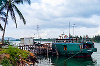 Riau Islands, Bintan. Small wooden cargo vessel at Kijang, south Bintan.