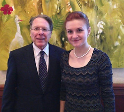 """Julia Louis-Dreyfus releases a photo on Twitter with the following caption: """"""""Whatever you do, DO NOT SHARE this photo of NRA CEO Wayne LaPierre with Russian agent Maria Butina. Apparently, Wayne wants it removed from the internet."""""""". Photo Credit: Twitter *** No USA Distribution *** For Editorial Use Only *** Not to be Published in Books or Photo Books ***  Please note: Fees charged by the agency are for the agency's services only, and do not, nor are they intended to, convey to the user any ownership of Copyright or License in the material. The agency does not claim any ownership including but not limited to Copyright or License in the attached material. By publishing this material you expressly agree to indemnify and to hold the agency and its directors, shareholders and employees harmless from any loss, claims, damages, demands, expenses (including legal fees), or any causes of action or allegation against the agency arising out of or connected in any way with publication of the material."""