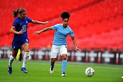 Demi Stokes of Manchester City Women tries to hold off Melanie Leupolz of Chelsea Women- Mandatory by-line: Nizaam Jones/JMP - 29/08/2020 - FOOTBALL - Wembley Stadium - London, England - Chelsea v Manchester City - FA Women's Community Shield