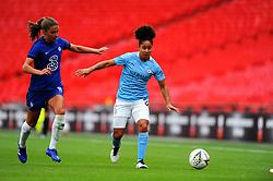 Demi Stokes of Manchester City Women tries to hold off Melanie Leupolz of Chelsea Women- Mandatory by-line: Nizaam Jones/JMP - 29/08/2020 - FOOTBALL - Wembley Stadium - London, England - Chelsea v Manchester City - FA Women's Community Shield