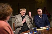 DEU, Deutschland, Germany, Weimar, 03.12.2014:<br /> Weimar-Dialog in der Jakobskirche. V.l.n.r.: Gerlinde Sommer, stv. TLZ-Chefredakteurin, Christian Dietrich, Stasi-Beauftragter in Thüringen,  Mike Mohring, Fraktionsvorsitzender der CDU in Thüringen.