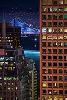 Bay Bridge Illuminated & Downtown buildings