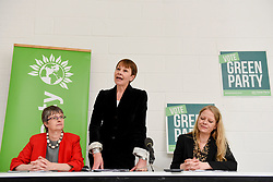© Licensed to London News Pictures. 02/05/2017. London, UK. (L to R) Molly Scott Cato, MEP and Green party candidate for Britsol West, Caroline Lucas MP, Co-Leader of the Green Party, and Sian Berry, Green London Assembly Member at the Green Party launch of their Brexit policy in Hackney. Photo credit : Stephen Chung/LNP