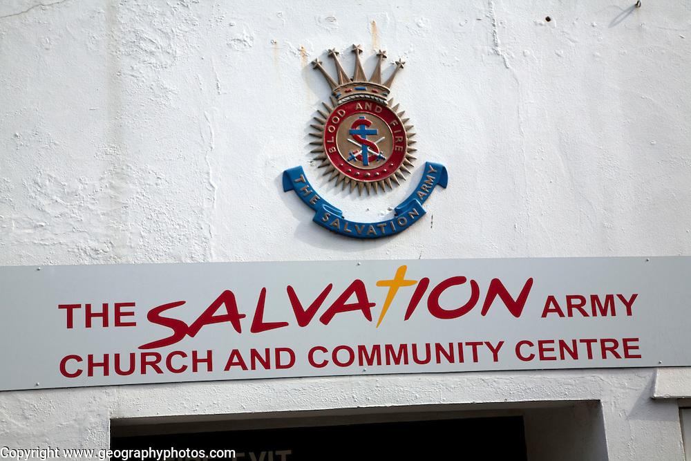 Salvation Army church and community centre sign, Woodbridge, Suffolk, England