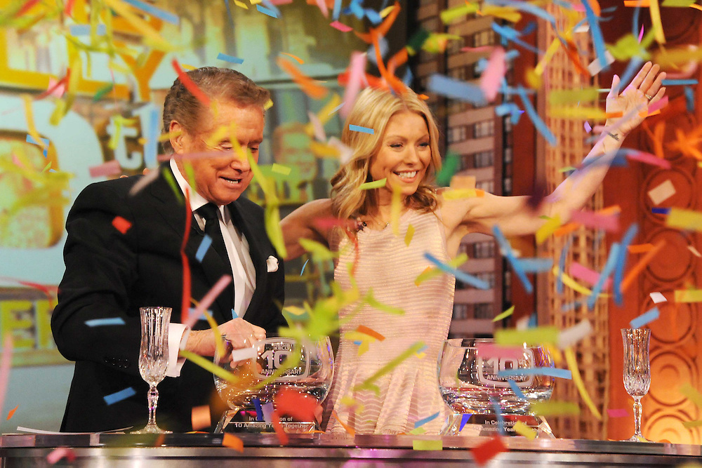 """Regis Philbin and Kelly Ripa are seen on """"Live! with Regis and Kelly"""" in 2010 in New York. Photo: David E. Steele/Disney/ABC"""