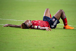 July 28, 2018 - Miami Gardens, FL, U.S. - MIAMI GARDENS, FL - JULY 28: Bayern Munich's Kingsley Coman lays on the field as he reacts to his team's loss during the International Champions Cup game between FC Bayern Munich and Manchester City FC on July 28, 2018 at the Hard Rock Stadium in Miami Gardens, Florida. (Photo by Doug Murray/Icon Sportswire) (Credit Image: © Doug Murray/Icon SMI via ZUMA Press)