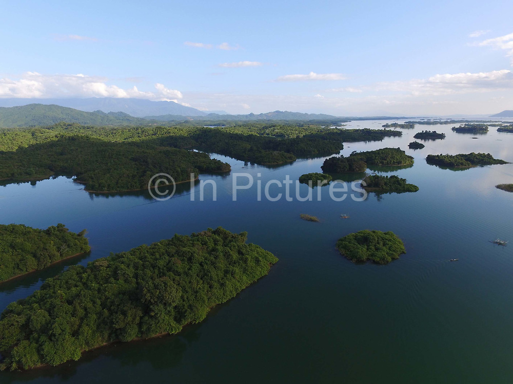 Aerial view of Ang Nam Ngum reservoir, 90 km north of Vientiane. It sits where the rice-growing flatlands surrounding the capital meet the mountainous terrain of the north and was created when the Nam Ngum river was dammed in 1971.