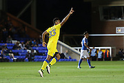 AFC Wimbledon striker Lyle Taylor (33) equalise for AFC Wimbledon 2-2 during the EFL Cup match between Peterborough United and AFC Wimbledon at ABAX Stadium, Peterborough, England on 9 August 2016. Photo by Stuart Butcher.