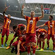 Galatasaray's players celebrate his goal during their Turkish Super League derby match Galatasaray between Besiktas at the AliSamiYen Spor Kompleksi TT Arena at Seyrantepe in Istanbul Turkey on Sunday, 24 May 2015. Photo by Aykut AKICI/TURKPIX