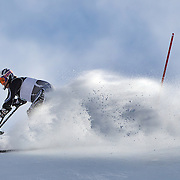 Adam Hall, New Zealand, in action during the Men's Slalom Sitting, Adaptive Slalom competition at Coronet Peak, New Zealand during the Winter Games. Queenstown, New Zealand, 25th August 2011. Photo Tim Clayton