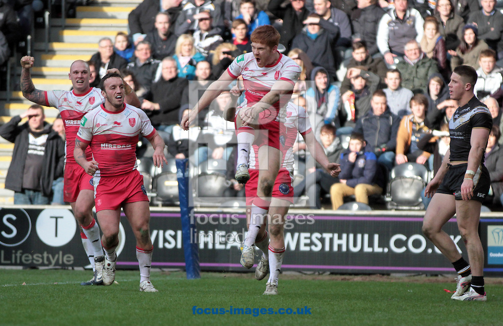 Picture by Richard Gould/Focus Images Ltd +447814 482222.29/03/2013.Kris Welham of Hull Kingston Rovers celebrates his 2nd try during the Super League match at the KC Stadium, Kingston upon Hull.