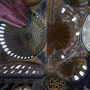 Painted ceiling of Hagia Sophia church and mosque in Istanbul