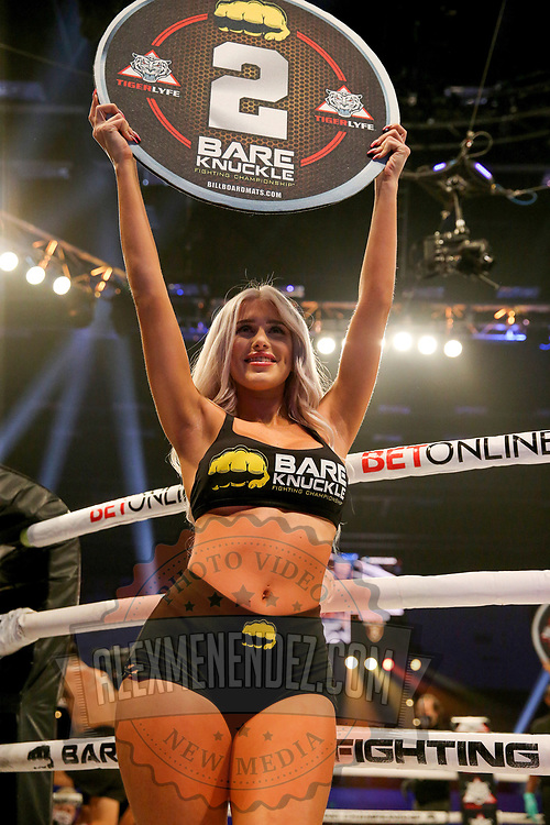 TAMPA, FL - FEBRUARY 05: A ring card girl is seen during the BKFC KnuckleMania event at RP Funding Center on February 5, 2021 in Tampa, Florida. (Photo by Alex Menendez/Getty Images) *** Local Caption ***