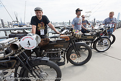 Andy Kaindl (L) and Brian Pease with all of the 4-Cylinder Henderson's on the boardwalk before the start of the Motorcycle Cannonball Race of the Century Run. Atlantic City, NJ, USA. September 9, 2016. Photography ©2016 Michael Lichter.
