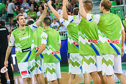 Zoran Dragic of Slovenia during opening ceremony for qualifying match between Slovenia and Kosovo for European basketball championship 2017,  Arena Stozice, Ljubljana on 31th August, Slovenia. Photo by Grega Valancic / Sportida