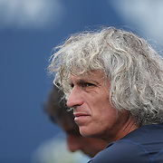 Sergio Giorgi, father of Camila Giorgi, Italy, in the stands watching his daughter play during the Connecticut Open at the Connecticut Tennis Center at Yale, New Haven, Connecticut, USA. 17th August 2014. Photo Tim Clayton