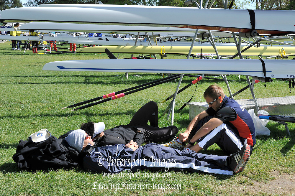 Hamilton, NEW ZEALAND.  Athletes resting in the  the boating area. 2010 World Rowing Championship on Lake Karapiro Friday  29/10/2010. [Mandatory Credit Peter Spurrier:Intersport Images].