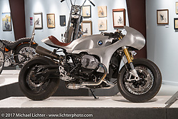 Cristian Sosa's custom RnineT BMW in the Old Iron - Young Blood exhibition in the Motorcycles as Art gallery at the Buffalo Chip during the annual Sturgis Black Hills Motorcycle Rally.  SD, USA.  August 10, 2017.  Photography ©2017 Michael Lichter.