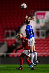 Ebony Salmon of Bristol City contends for the aerial ball with Maeva Clemaron of Everton Women - Mandatory by-line: Ryan Hiscott/JMP - 17/02/2020 - FOOTBALL - Ashton Gate Stadium - Bristol, England - Bristol City Women v Everton Women - Women's FA Cup fifth round