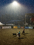"""Ropers compete despite the unseasonal and heavy downpour of snow during the Jackson Hole Rodeo at the Teton County Fairgrounds in Jackson, Wyoming on Saturday, June 8, 2019. """"I was trying to watch team roping, and at one point I couldn't see the team ropers hardly,"""" rodeo operator Phil Wilson said. """"Everyone I talked to was a bit soggy and a whole lot cold."""""""