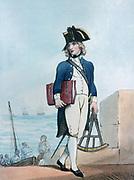 Midshipman, 1799.  The young man is carrying a sextant which was used for making astronomical observations for navigating.  Print by Thomas Rowlandson (1756-1827). Aquatint.