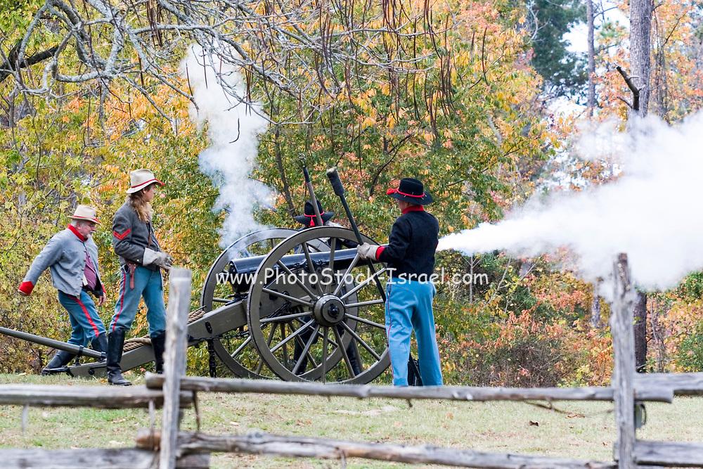 Arkansas, AR, USA, Old Washington State Park, Civil War Weekend, A confederate artillery camp 10 pounder cannon.