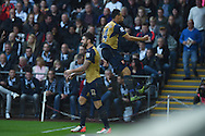 Olivier Giroud of Arsenal (12) celebrates with Francis Coquelin ® after he scores his teams 1st goal. Barclays Premier league match, Swansea city v Arsenal  at the Liberty Stadium in Swansea, South Wales  on Saturday 31st October 2015.<br /> pic by  Andrew Orchard, Andrew Orchard sports photography.