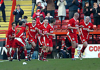 Photo: Ed Godden.<br />Bristol City v Swansea. Coca Cola League 1. 28/01/2006.<br />Swindon players celebrate their goal just before half-time.