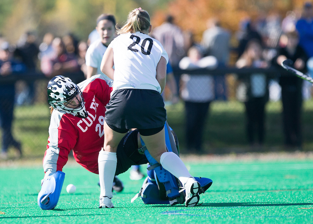Sarah Evans, of Colby College, during a NCAA Division III field hockey game on October 25, 2014 in Waterville, ME. (Dustin Satloff/Colby College Athletics)