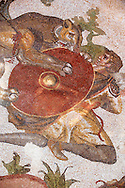 The Lion Hunt from the Room of The Small Hunt, no 25 - . Roman mosaics at the Villa Romana del Casale which containis the richest, largest and most complex collection of Roman mosaics in the world. Constructed  in the first quarter of the 4th century AD. Sicily, Italy. A UNESCO World Heritage Site. .<br /> <br /> If you prefer to buy from our ALAMY PHOTO LIBRARY  Collection visit : https://www.alamy.com/portfolio/paul-williams-funkystock/villaromanadelcasale.html<br /> Visit our ROMAN MOSAICS  PHOTO COLLECTIONS for more photos to buy as buy as wall art prints https://funkystock.photoshelter.com/gallery/Roman-Mosaics-Roman-Mosaic-Pictures-Photos-and-Images-Fotos/G00008dLtP71H_yc/C0000q_tZnliJD08