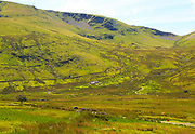 Upland landscape view to Foel Gron mountain, Mount Snowdon, Gwynedd, Snowdonia, north Wales, UK