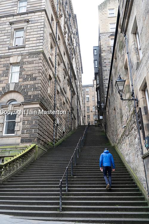 Steep steps of Warriston's Close in Edinburgh  Old Town , Scotland, UK