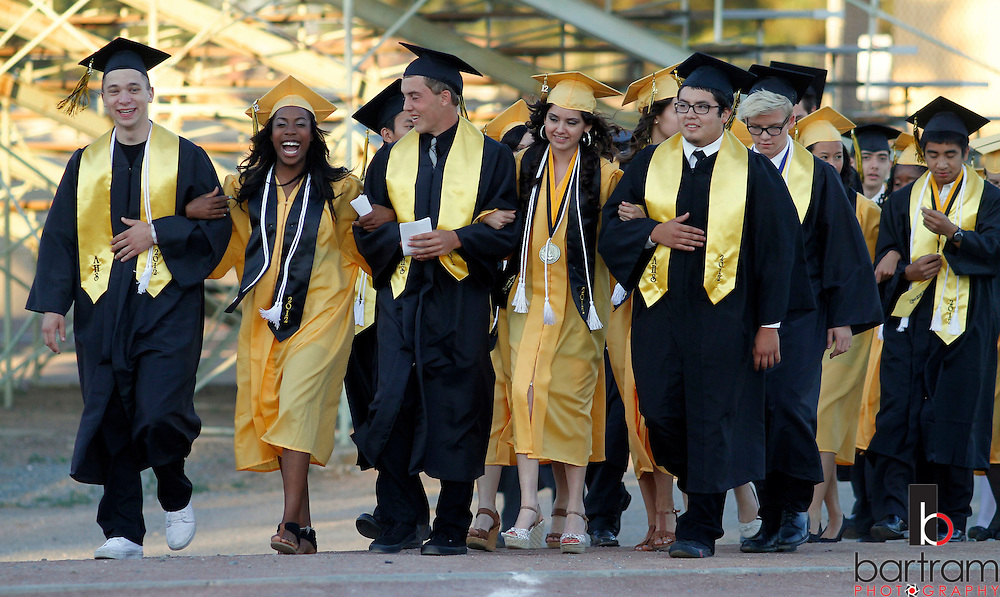 Antioch High School seniors march into graduation on Friday, June 8, 2012. (Photo by Kevin Bartram)