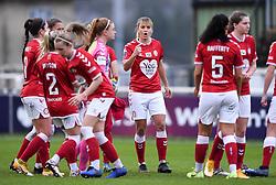 Gemma Evans of Bristol City Women talks to the Bristol City Women team during a huddle prior to kick off - Mandatory by-line: Ryan Hiscott/JMP - 13/12/2020 - FOOTBALL - Twerton Park - Bath, England - Bristol City Women v West Ham United Women - Barclays FA Women's Super League