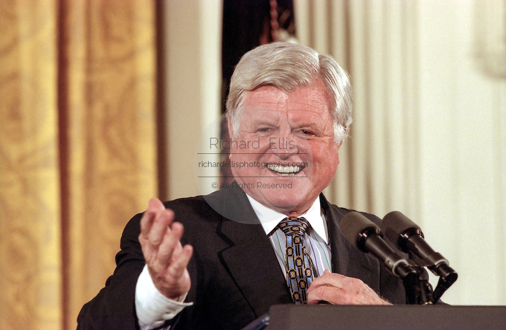 US Senator Ted Kennedy speaks during the signing ceremony for the Higher Education Act in the East Room of the White House October 7, 1998 in Washington, DC.