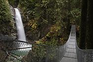 Cascade Falls and suspension bridge at Cascade Falls Regional Park near Mission, British Columbia, Canada