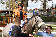 MAJOR JUMBO (4) ridden by Josephine Gordon and trained by Kevin Ryan enter the Winners Enclosure and jockey Josephine Gordon gives the thumbs up and celebrates after winning The Coral Sprint Trophy over 6f (£100,000)during the October Finale meeting at York Racecourse, York, United Kingdom on 13 October 2018. Pic Mick Atkins