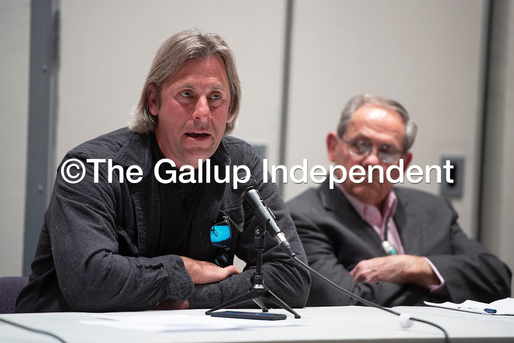 Mayoral candidate Chuck Van Drunen speaks Thursday, Feb. 20 at a candidate forum for the 2020 Municipal Officer Election at the University of New Mexico-Gallup Calvin Hall Auditorium co-hosted by the Gallup Independent and KGLP.