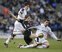 Photo: Aidan Ellis.<br /> Bolton Wanderers v Fulham. The Barclays Premiership. 11/02/2007.<br /> Fulham's Michael Brown (L) battles with Bolton's Gary Speed