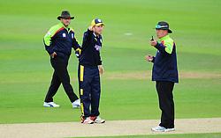 Liam Dawson , captain of Hampshire talks to the umpires.  - Mandatory by-line: Alex Davidson/JMP - 02/08/2016 - CRICKET - The Ageas Bowl - Southampton, United Kingdom - Hampshire v Somerset - Royal London One Day