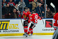 KELOWNA, BC - FEBRUARY 8: Jaydon Dureau #22 and Seth Jarvis #24 of the Portland Winterhawks celebrate a second period goal against the Kelowna Rockets  at Prospera Place on February 8, 2020 in Kelowna, Canada. (Photo by Marissa Baecker/Shoot the Breeze)