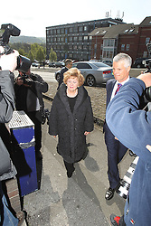"""© Licensed to London News Pictures . 24/04/2014 . Macclesfield , UK . Actress BARBARA KNOX MBE (left) , who plays Rita Tanner in Coronation Street , arrives at Macclesfield Magistrates Court this morning (Thursday 24th April 2014) . Knox is accused of drink driving and is represented by celebrity lawyer Nick Freeman (right) , who is known as """" Mr Loophole """" for his ability to get his clients cleared on legal technicalities . Photo credit : Joel Goodman/LNP"""