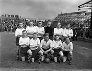 05/05/1957<br /> 05/05/1957<br /> 05 May 1957<br /> Soccer: Final of Top Four Competition: Evergreen United v Drumcondra at Dalymount Park Dublin. The Evergreen team.
