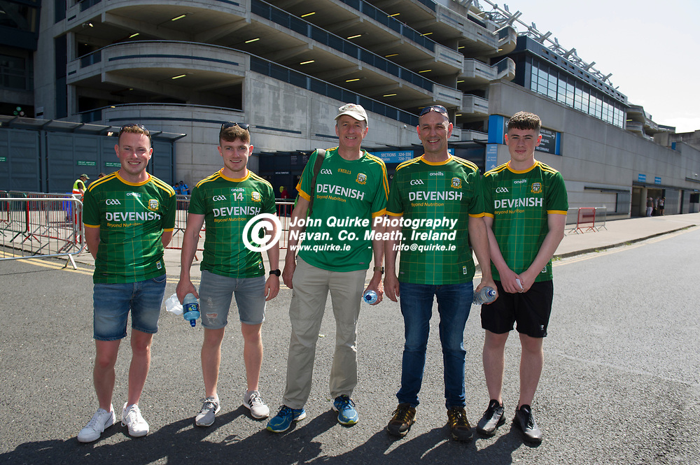 18-07-21. Meath v Dublin - Leinster SFC Semi-Final at Croke Park.<br /> Meath supporters L to R: Shane Mulvany and Alan Mulvany, Seneschalstown. Pat Callan, Navan. Kevin Power and Ultan Blake, Drummer arriving in Croke Park to support Meath in Leinster SFC Semi-Final.<br /> Photo: John Quirke / www.quirke.ie<br /> ©John Quirke Photography, 16 Proudstown Road, Navan. Co. Meath. (info@quirke.ie / 046-9028461 / 087-2579454).
