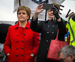 © Licensed to London News Pictures. 26/02/2016. London, UK. Leader of the SNP NICOLA STURGEON and Leader of Plaid Cymru LEANNE WOOD attend a CND (Campaign for Nuclear Disarmament) rally in central London on February 27, 2016. Jeremy Corbyn has been criticised for publicly supporting the CND campaign while Labour Party policy  backs the renewal of Trident nuclear programme. Photo credit: Ben Cawthra/LNP