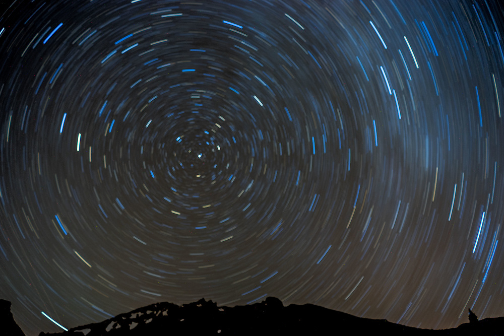 Startrails Over Mt. Shasta, Shasta-Trinity National Forest, California, US