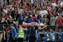 July 11, 2018 - Moscow, Vazio, Russia - Mario MANDZUKIC of Croatia celebrate qualifying after match between England and Croatia valid for the semi final of the 2018 World Cup, held at the Lujniki Stadium in Moscow in Russia. Croatia wins 2-1. (Credit Image: © Thiago Bernardes/Pacific Press via ZUMA Wire)